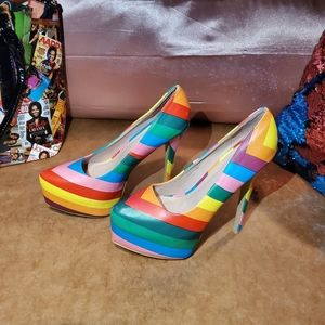 Lollicouture multi color rainbow stripped heels